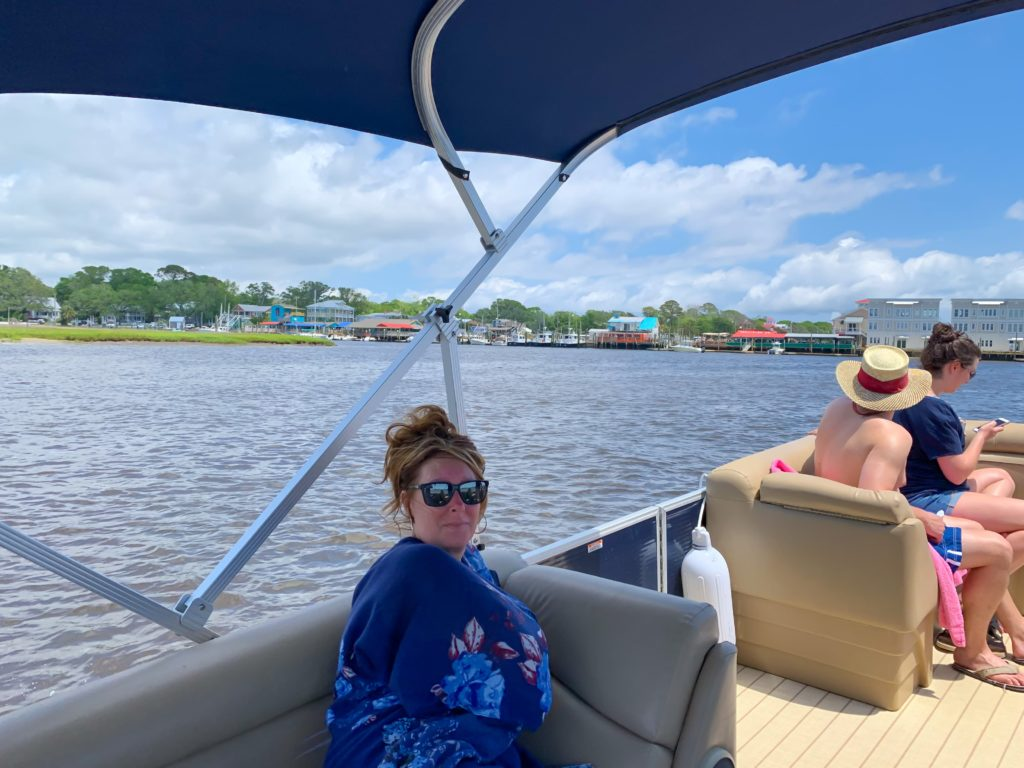 Cindy on the Pontoon Boat in Southport, North Carolina